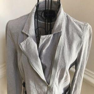 DKNY Jeans Asymmetrical Zippered Linen Coat